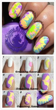Tie dye DIY nail art. Would be great done with gel nail polish.