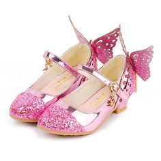 Girls Glitter Butterfly Mary Jane Flats with Mini Heels (4 Color Options Sizes 9.5 Toddler - 5 Girls )
