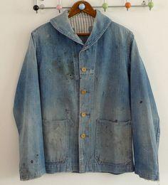 Vintage Original Denim US Navy Deck  Workwear Jacket With Frankenstein Stitch Darning & Patch Repair 1 by Fletcher & son, via Flickr