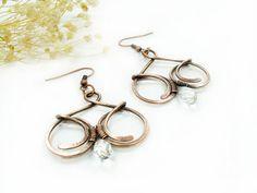 Copper wire earrings wire wrapped earrings by MargoHandmadeJewelry