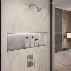 Bathroom Niche, Shower Niche, Bathroom Layout, Shower Faucet, Bathroom Interior Design, Small Bathroom, Modern Marble Bathroom, Bathroom Ideas, Restroom Ideas