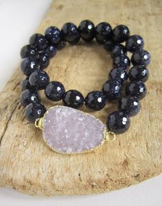 Agate Druzy Bracelet Drusy Quartz Blue Sandstone Beaded Stretch