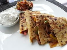 Beef, Bellpepper and cheese Quesadilla with Salsa Ranchero and Sour cream
