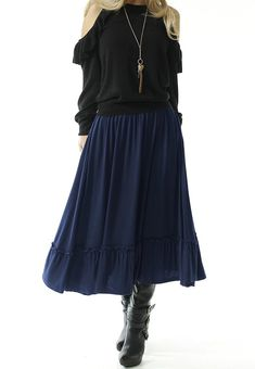 7f432392ee14 TRENDY UNITED Women s Bohemian Style High Waist Shirring Ruffle Pocket Skirt  - Shop2online best woman s fashion products designed to provide