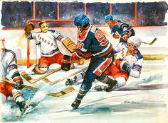 1980's Wayne Gretzky Original Artwork by Victor Olson.