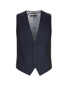 Wool geo suit waistcoat - Navy | Suits | Ted Baker