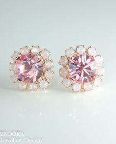 Pink crystal earrings   Pink wedding   Pink bridesmaid jewelry   #EndoraJewellery