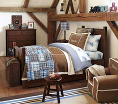 Camp Bedroom Set | Pottery Barn Kids - love this set for Teddy, with less fussy decorations. Dark wood. Similar in style to the crib set.