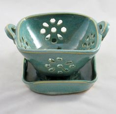 Aqua Green Berry Bowl or Colander with Saucer Wheel by dkpottery