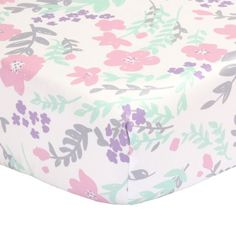Free Shipping. Buy The Peanut Shell Baby Crib Fitted Sheet - Pink, Mint Green, Purple and Grey Floral - 100% Cotton Sateen, Fits Standard 52 by 28 Inch Mattress at Walmart.com