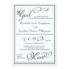 Simple God Is Love Christian Wedding Invitation