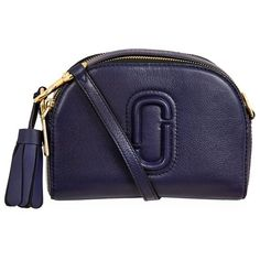 Marc Jacobs Small Shutter Camera Bag ($375) ❤ liked on Polyvore featuring bags, handbags, leather sling bag, leather sling purse, genuine leather purse, real leather purses and blue purse