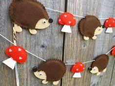 Hedgehog and Mushroom Garland Hedgehog bunting Banner by FeltWitch
