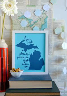 Michigan State Motto Art in Blue