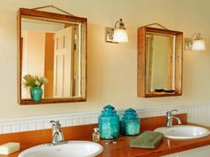 A pair of old boxes found at a salvage store were turned into a pair of bathroom mirrors. This easy project required no power tools and took just a couple hours to make. Design by Joanne Palmisano