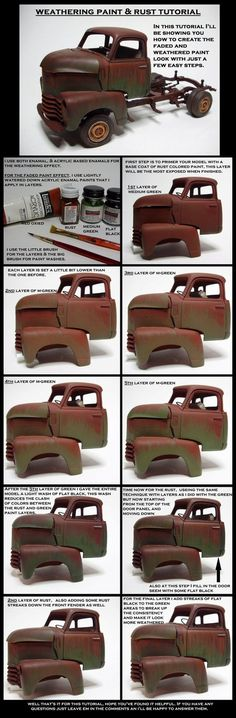 This is a progression tutorial on how I paint faded paint and rust on my models for a weathered effect look. The main idea of this tutorial is about layers upon layers. Heres the finished model