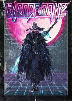 Bloodborne VHS Dark Souls, Bloodborne Concept Art, Bloodborne Art, Character Design Tips, Soul Game, Fantasy Character, Old Blood, Neon Noir, 80s Neon