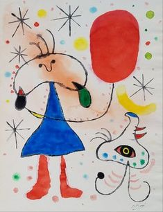 Joan Miro (Gouache e tinta no papel) Joan Miro Paintings, Sculpture Metal, Spanish Artists, Jewish Art, Abstract Art, Abstract Landscape, Elementary Art, Art Auction, Tag Art