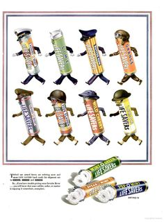 This WWII era Lifesavers ad with it's military capped candy rolls tells consumers that their favorite flavors may not be available as they are being shipped overseas for soldiers...1943 Life Magazine.
