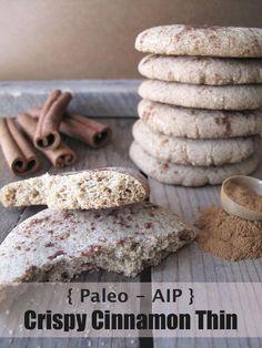 AIP / Paleo Crispy Cinnamon Thin Cookies (Coconut-free) - A Squirrel in the Kitchen Add - tigernut flour Paleo Sweets, Paleo Dessert, Gluten Free Desserts, Dessert Recipes, Vegan Desserts, Snack Recipes, Paleo Cookies, Cookie Recipes, Flour Recipes