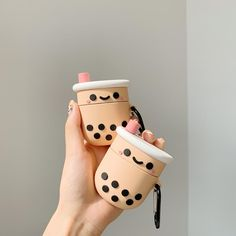 A cute bubble tea soft silicone case designed by Pink Apple to ensure that your airpod charging case remains scratch free. Fits snugly around an airpod charging case. Open slot on the bottom allows easy charging.