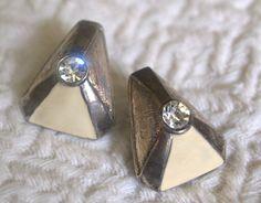 Stylish Vintage Triangular Shaped Art Deco Style Earrings with Ivory Enamel & Raw Metal Detailing. $26,00, via Etsy.