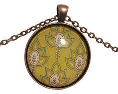 Unique & Dainty Handmade Pendant Necklace Designs by PoppiesAndThymeStore Circle Pendant Necklace, Simple Necklace, Simple Jewelry, Green Pendants, Initial Bracelet, Necklace Designs, Earring Set, Necklaces, Bracelets