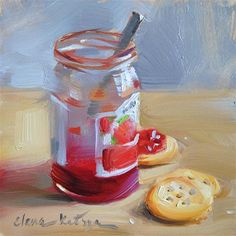 "Daily Paintworks - ""Cherry Jam"" - Original Fine Art for Sale - © Elena Katsyura Painting Still Life, Still Life Art, Food Painting, Tea Art, Food Illustrations, Diy Food, Food Ideas, Fine Art Gallery, Painting Inspiration"