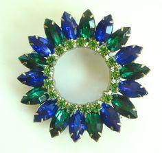 Rhinestone brooch Vintage D & E Blue Green by VintageVogueTreasure