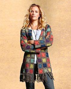 Crochet Ole Cardigan Oh wait. Crochet Dress Outfits, Black Crochet Dress, Crochet Jacket, Crochet Poncho, Crochet Cardigan, Love Crochet, Crochet Granny, Crochet Clothes, Granny Square Sweater