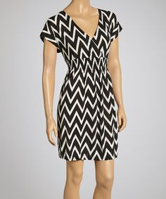 This Black Zigzag Surplice Dress by Life and Style Fashions is perfect! #zulilyfinds