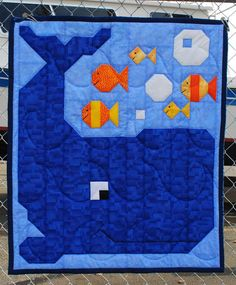 Whale Quilt Pattern in Wall Crib and Lap sizes by CountedQuilts