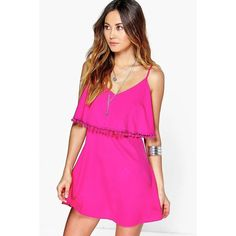 Boohoo Basics Adriane Pom Pom Double Layer Sundress ($20) ❤ liked on Polyvore featuring dresses, raspberry, pink cami, pink camisole, layering cami, polyester camisole and layering camisole