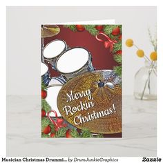 Wish friends and family a Merry Rockin' Christmas with this drummer holiday card featuring a beautiful drum set. Perfect for musicians and music lovers! #drummerchristmas #snaredrum #drumsticks #drumjunkie