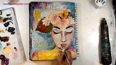 Free quick inspirational video on creating a mixed media face with acrylic, collage, stenciling and simple techniques. Come on over to watch Paper Collage Art, Collage Art Mixed Media, Mixed Media Painting, Mixed Media Canvas, Canvas Collage, Mixed Media Tutorials, Art Tutorials, Mixed Media Faces, Collage Portrait