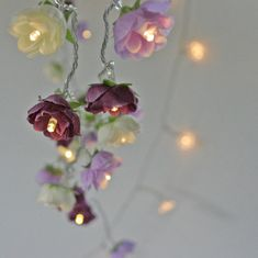 Rambling Rose Fairy Lights in Magenta Lilac and by PamelaAngus.. These would be so pretty for the food tables!