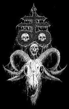 horror skull Macabre Mark Riddick satanic cross ram skull Riddick Art ibex