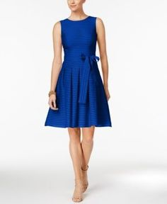 Tommy Hilfiger Illusion-Striped Fit & Flare Dress - Blue 14