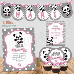 Kit Imprimible Osito Panda Nena  1 Añito, Bautismo, Baby Shower