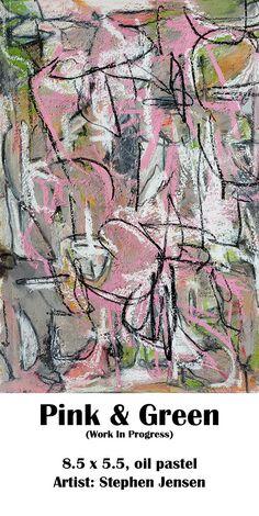 Still working on this one. (work in progress) 8.5 x 5.5, oil pastel Artist: Stephen Jensen #stephenjensen #abstractart #oilpastelart #neopastel #art Oil Pastel Art, Pink And Green, City Photo, Vintage World Maps, Abstract Art, Artist, Painting, Painting Art, Paintings
