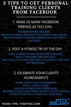 How to get Personal Training Clients from Facebook. 3 Tips to make it easy from thePTDC.com