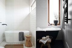 11x werken met witte tegels (liefst met zwarte voeg!) Furnitures, Bathrooms, Tiles, Bathtub, Inspiration, Room Tiles, Standing Bath, Biblical Inspiration, Bathtubs