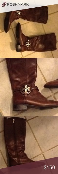 Tory Burch Worn but still a lot of life left heels does not show a lot of wear. Leather in good condition and the ankle has Tory Burch gold logos Tory Burch Shoes