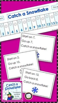 Add and subtract by counting up and back on the number line. Catch a snowflake with this winter themed set of 135 action cards and coordinating number lines. Also included - a four in a row game, great for more practice in your math centers. https://www.teacherspayteachers.com/Product/Winter-Number-Line-Addition-and-Subtraction-2882158