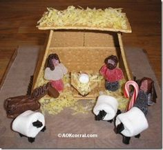 Grahm cracker nativity scene. Made this with kids at bible study. They didn't turn out as nice as this one, but they had tons of fun making them!