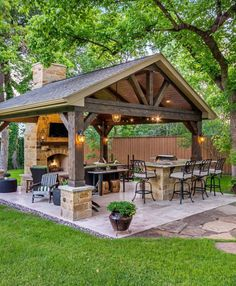 The patio of a house can be settings for many unique things. Whether you have a tiny space or a larger one, you want your outdoor space to be comfortable and nice. Your patio supplies the foundation for your outdoor living space. Backyard Kitchen, Outdoor Kitchen Design, Outdoor Kitchen Plans, Summer Kitchen, Backyard Patio Designs, Backyard Landscaping, Landscaping Ideas, Backyard Porch Ideas, Backyard Gazebo