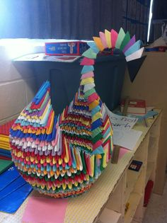 Grade 5 art project-finally something to do with all those ridiculous triangles the kids make!