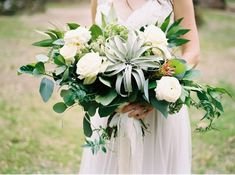 Green + Gold Inspiration Amidst Southern Church Ruins on Vale & Vine | Green-and-White-Bridal-Bouquet by Colonial House of Flowers Old Sheridan Church Ruins South Carolina | Abigail Malone Photography