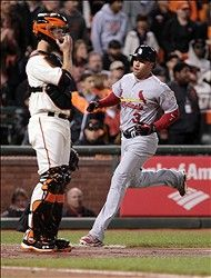 Game 6 of the NLCS-  Carlos Beltran scores the only run the Cards put on the board  10-21-12