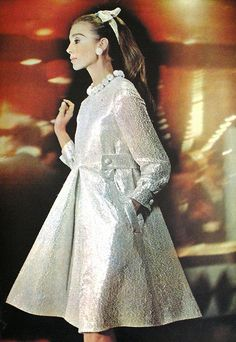 Christian Dior, 1966 vintage fashion style designer couture silver evening party cocktail dress tent shift silver white lurex metallic shiny bows color photo print ad model magazine 60s